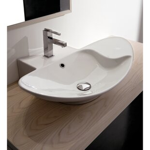 Compare & Buy Zefiro Ceramic Oval Vessel Bathroom Sink with Overflow By Scarabeo by Nameeks