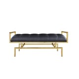 Reuben PU Leather Tufted Bench by Everly Quinn