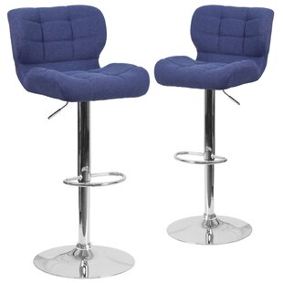 Hackbarth Adjustable Height Swivel Bar Stool (Set of 2) Brayden Studio