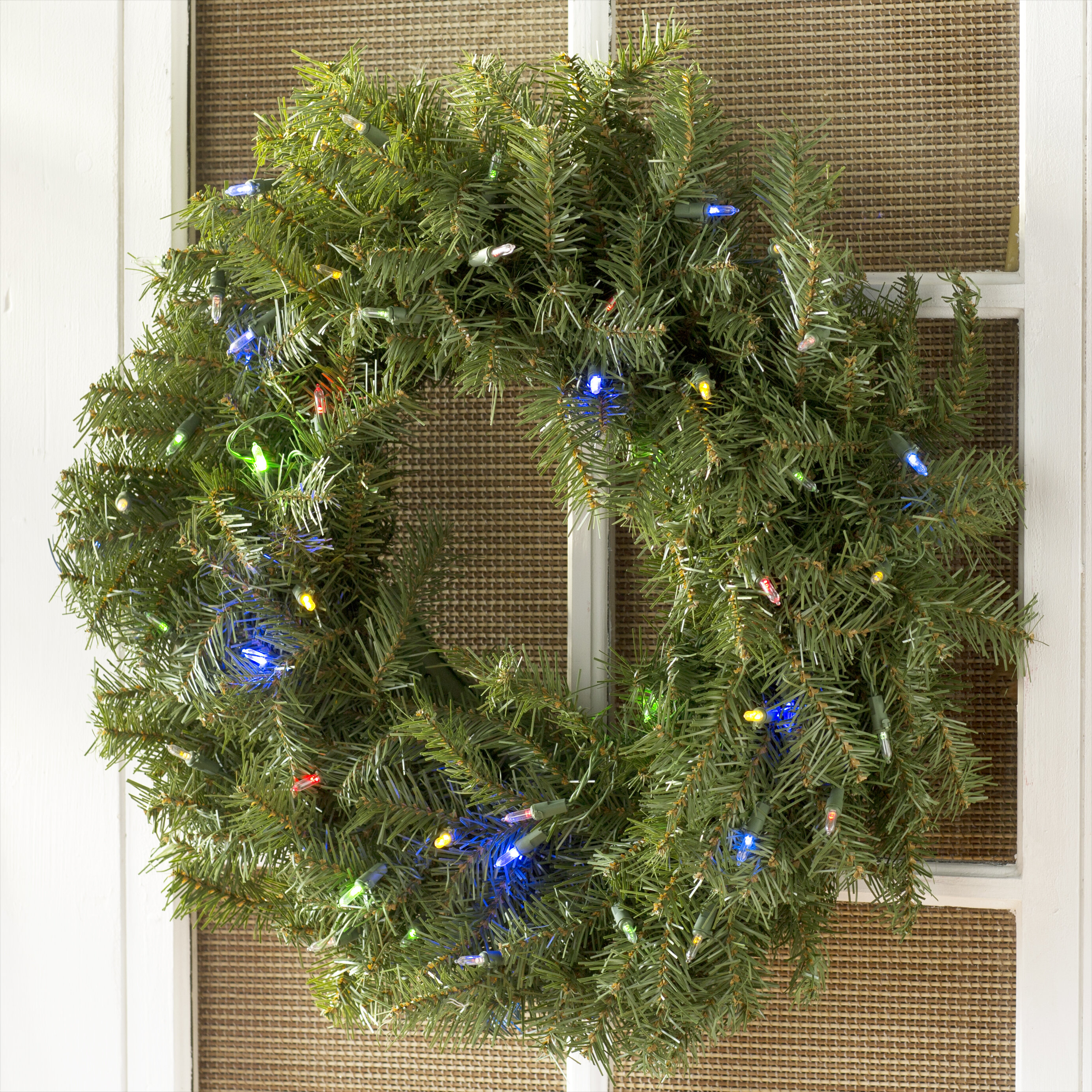 """24"""" Pre Lit Lighted Wreath with 50 Battery Operated LED Changing Colored Lights"""