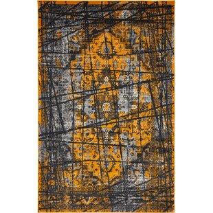 Online Reviews Yareli Black/Orange Area Rug ByBungalow Rose