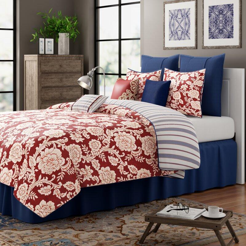 Three Posts Cerna Reversible Floral Cotton 9 Piece Duvet Cover Set Reviews Wayfair