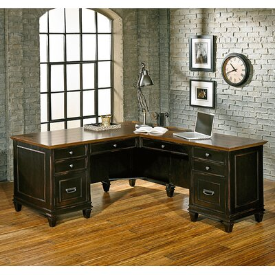 17 Stories Django 6 Drawer L Shape Executive Desk