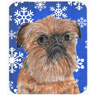 Affordable Brussels Griffon Rectangle Snowflake Glass Cutting Board By The Holiday Aisle