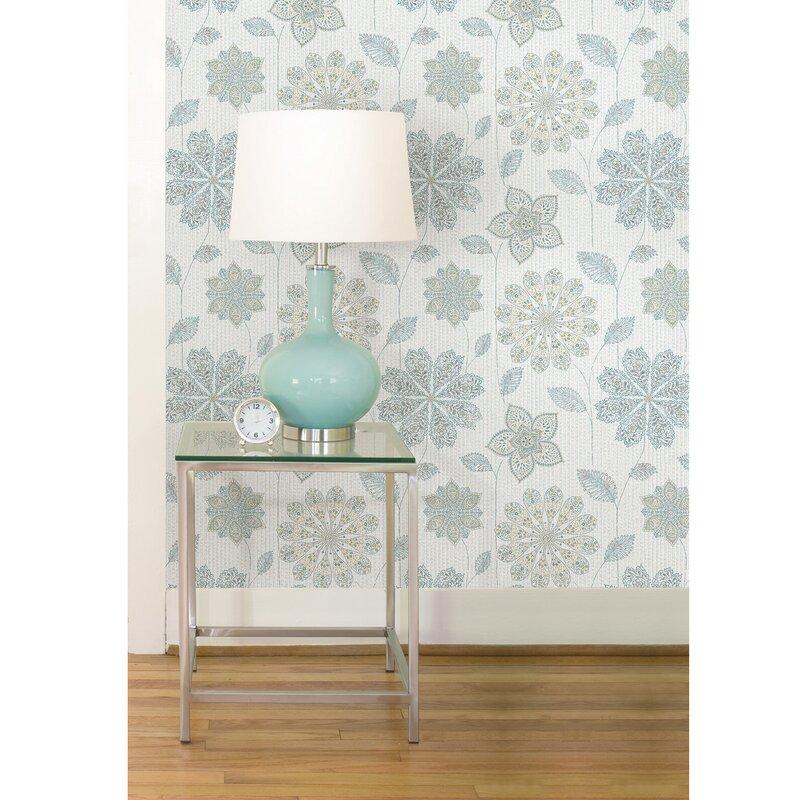Winston Porter Seabeck Floral Blue Green Peel And Stick Wallpaper Roll Reviews Wayfair