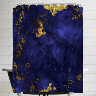 Grab My Art Luxury Blue Malachite Gold Gem Agate And Marble Texture Single Shower Curtain