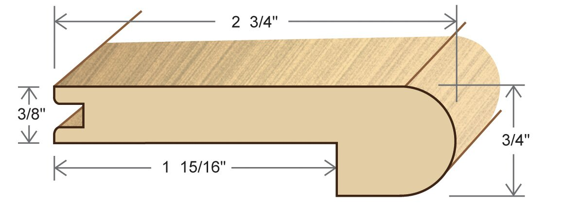 "0.75"" x 2.75"" x 78"" Red Oak Stair Nose"