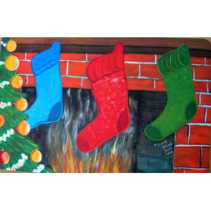 Seasonal Holiday Christmas Stockings Doormat
