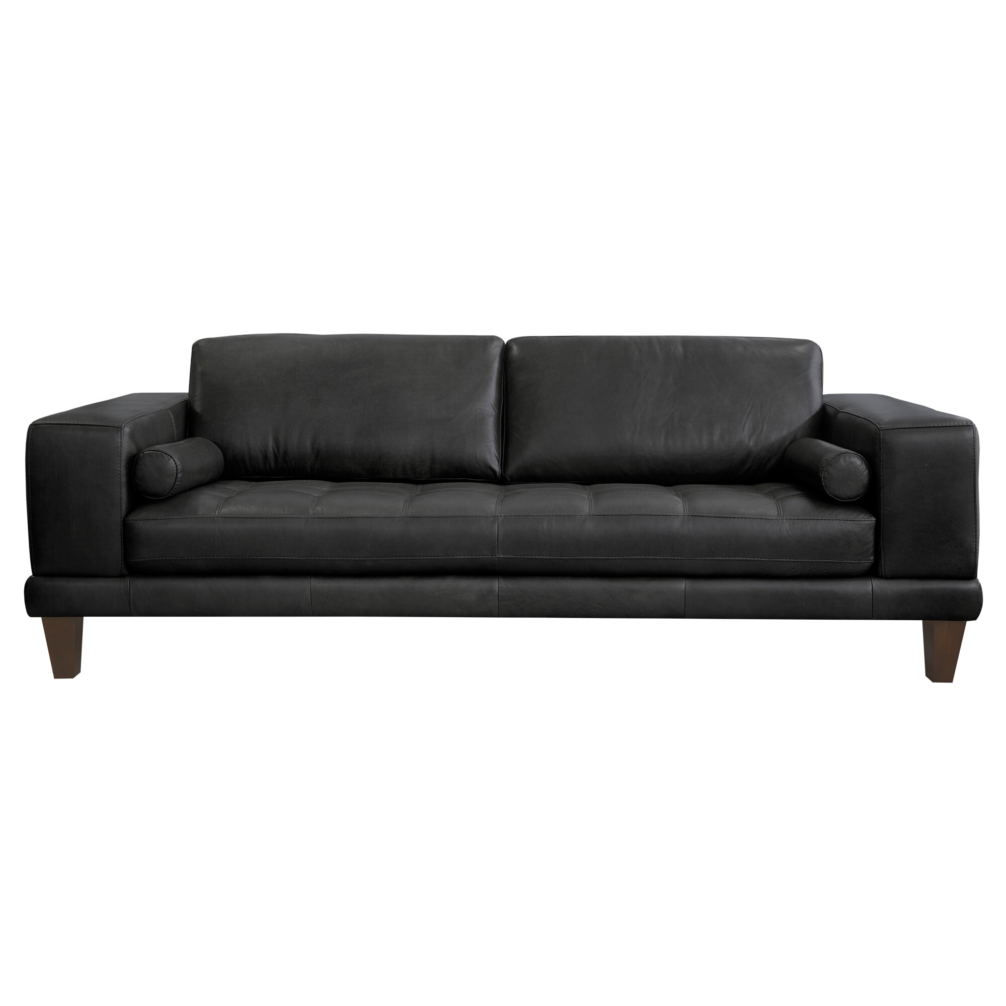 Orren Ellis Randolph Leather Sofa U0026 Reviews Wayfairsleek Black 7