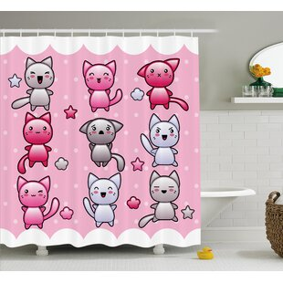 Anime Decor Funny Japanese Shower Curtain + Hooks