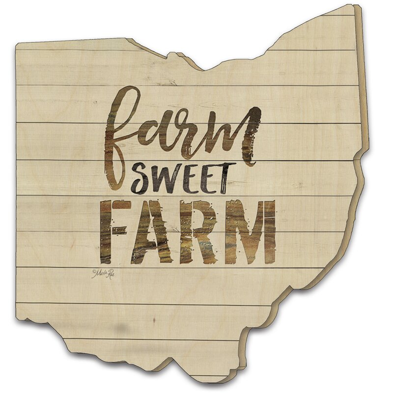 'Farm Sweet Farm' Textual Art on Wood in Beige