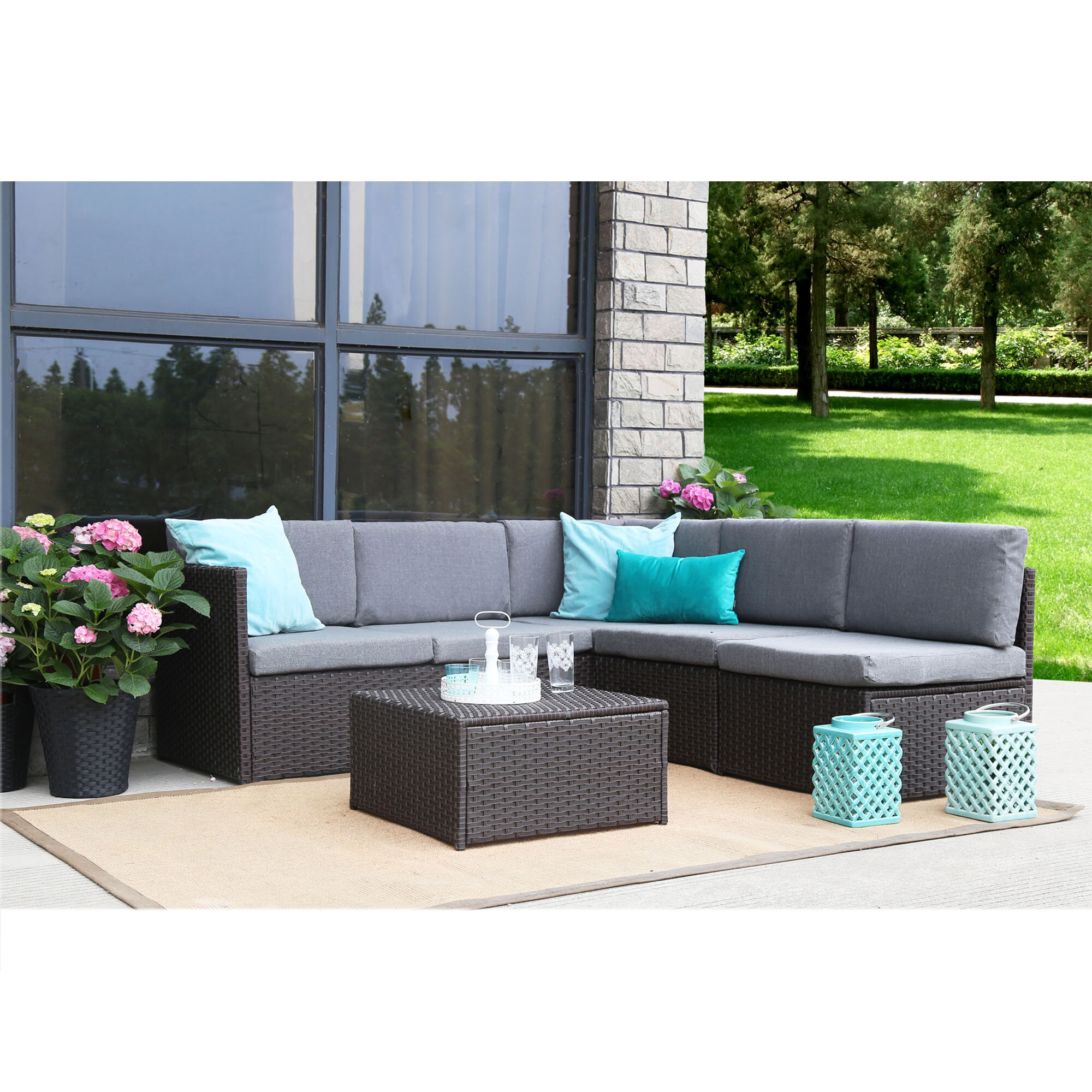 Wrought Studio Mabie Complete 4 Piece Sectional/Sofa Set with ...