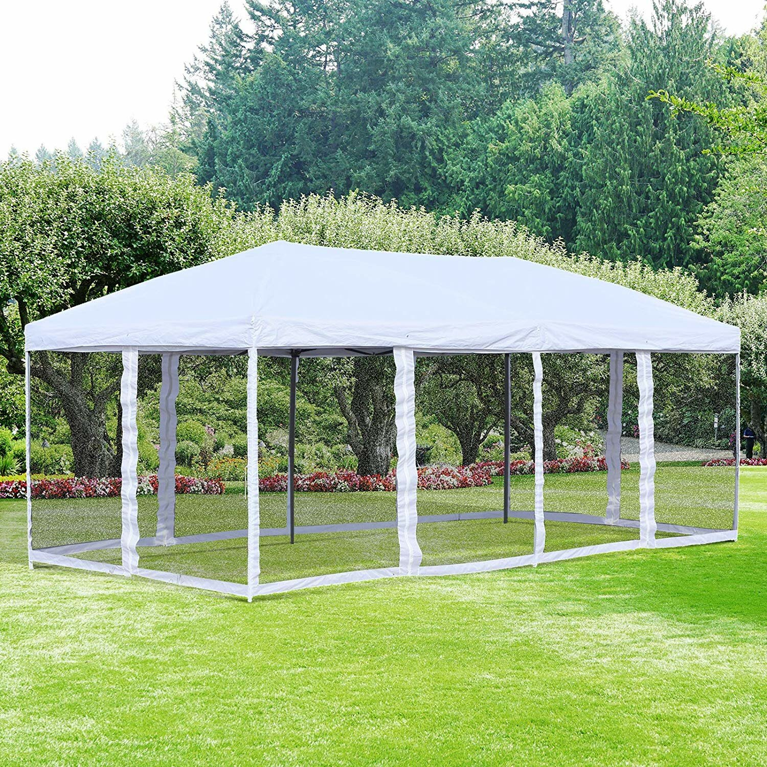 Outsunny 19 5 Ft W X 10 Ft D Steel Pop Up Canopy Reviews Wayfair
