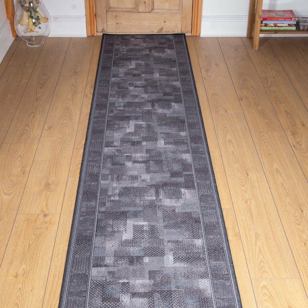 Banner Looped/Hooked Graphite Hallway Runner Rug