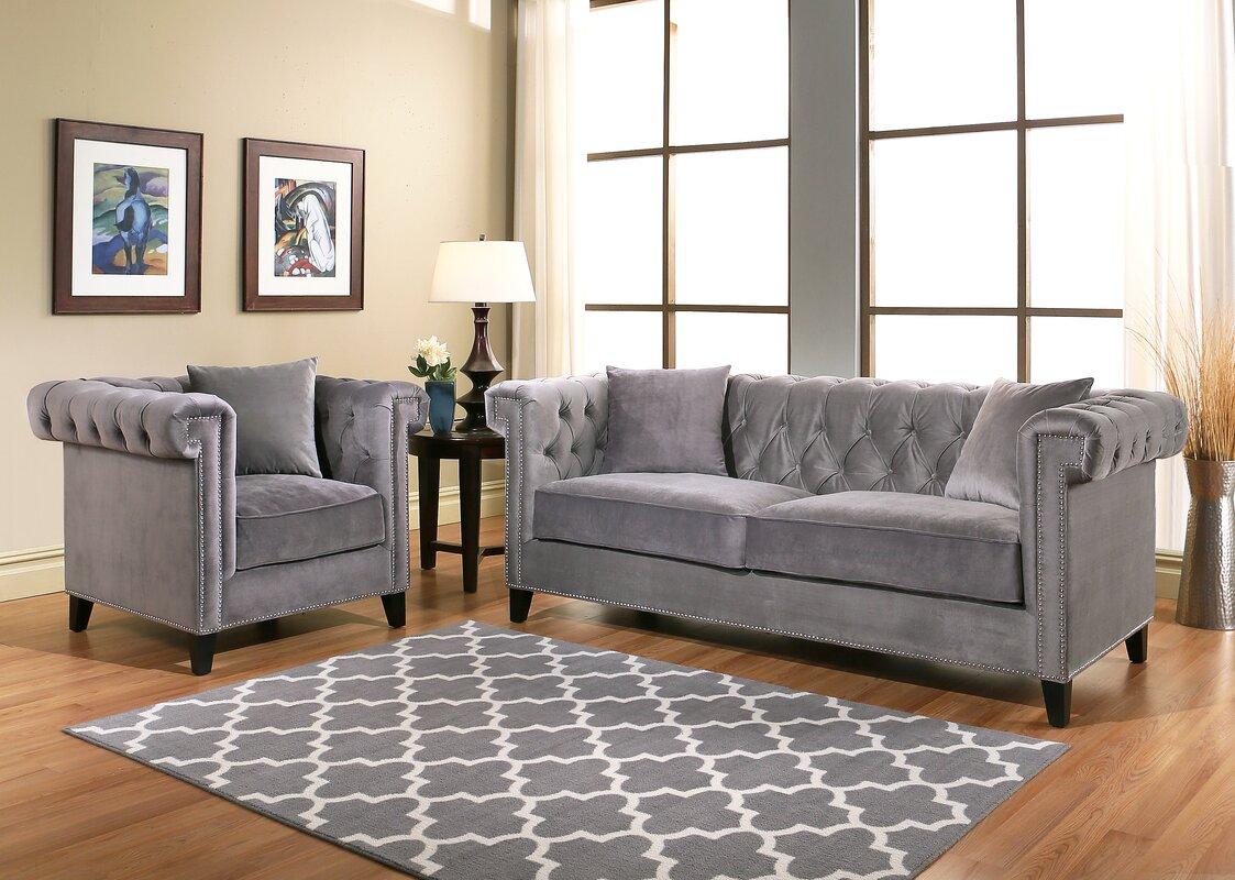 Willa arlo interiors vianna velvet sofa and armchair set - Willa arlo interiors keeley bar cart ...