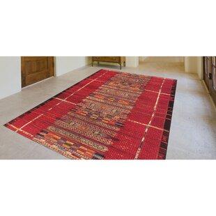 Brilliant Tribal Stripe Red Indoor/Outdoor Area Rug