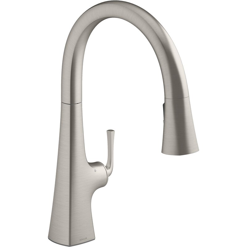 Kohler Graze Touchless Pull Down Kitchen Sink Faucet With Three Function Sprayhead Reviews Wayfair