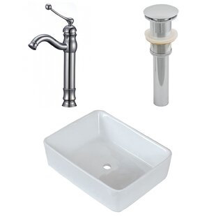 Online Reviews Above Counter Ceramic Rectangular Vessel Bathroom Sink with Faucet ByRoyal Purple Bath Kitchen