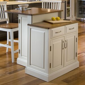 Susana 3 Piece Kitchen Island Set with Wood Top