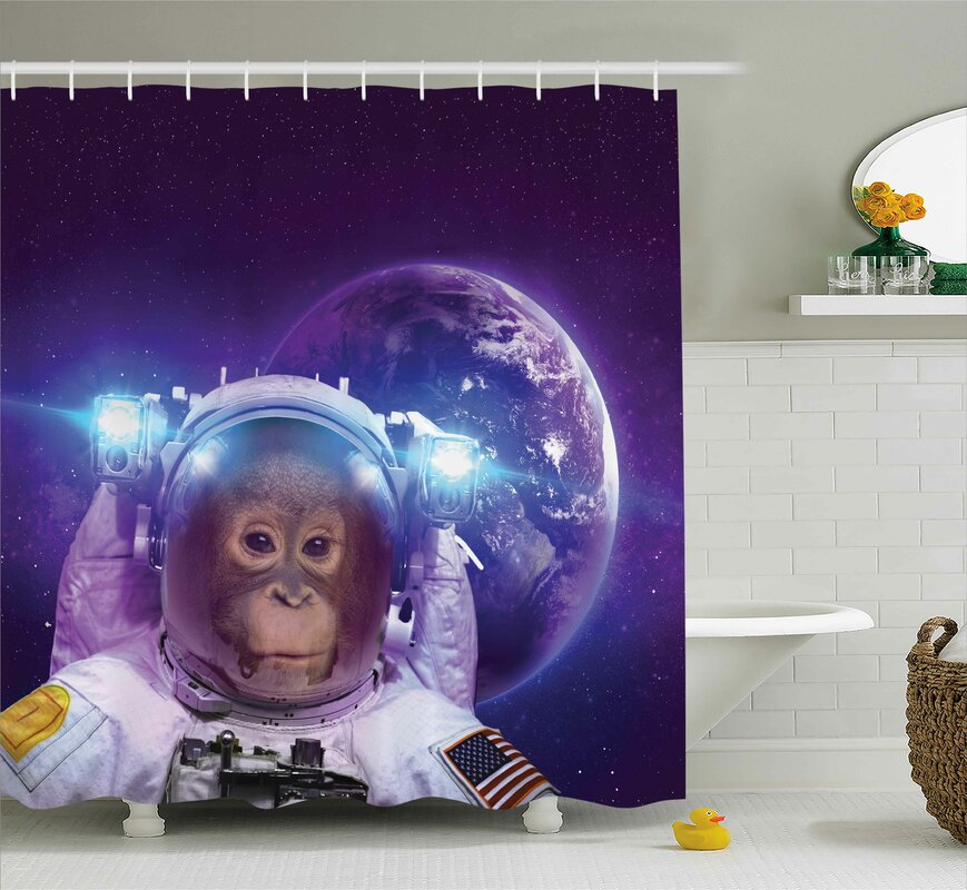 Outer Space Astrounaut Monkey Shower Curtain