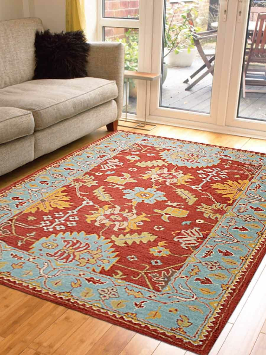 Isabelline Pepperell Oushak Indian Hand Tufted Wool Oranges Rust Area Rug Wayfair