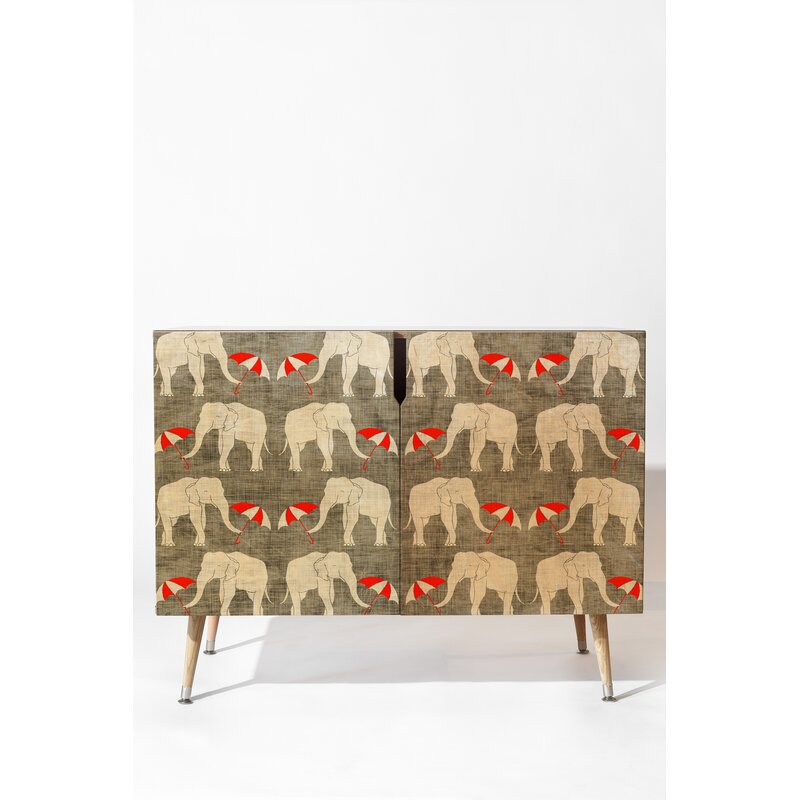East Urban Home Elephant and Umbrella Accent Cabinet