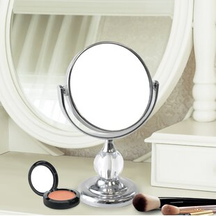 Compare prices Dix Mini Round Double Sided Magnifying Standing Makeup/Shaving Mirror By Charlton Home