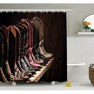Western Various Type of Embellished Rodeo Fancy Leather Boots Collection Image Shower Curtain Set