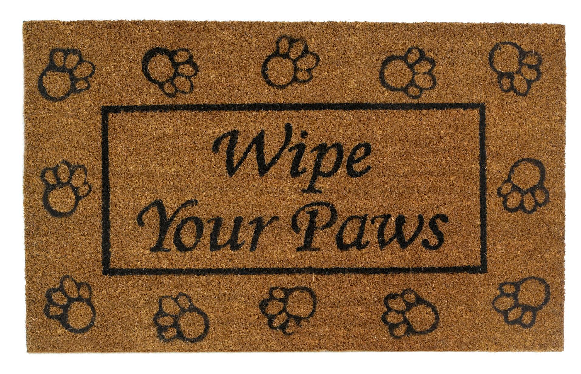 """DOOR MATS /""""WIPE YOUR PAWS/"""" DOG BONE COIR DOORMAT WELCOME MAT 18/"""" X 30/"""""""