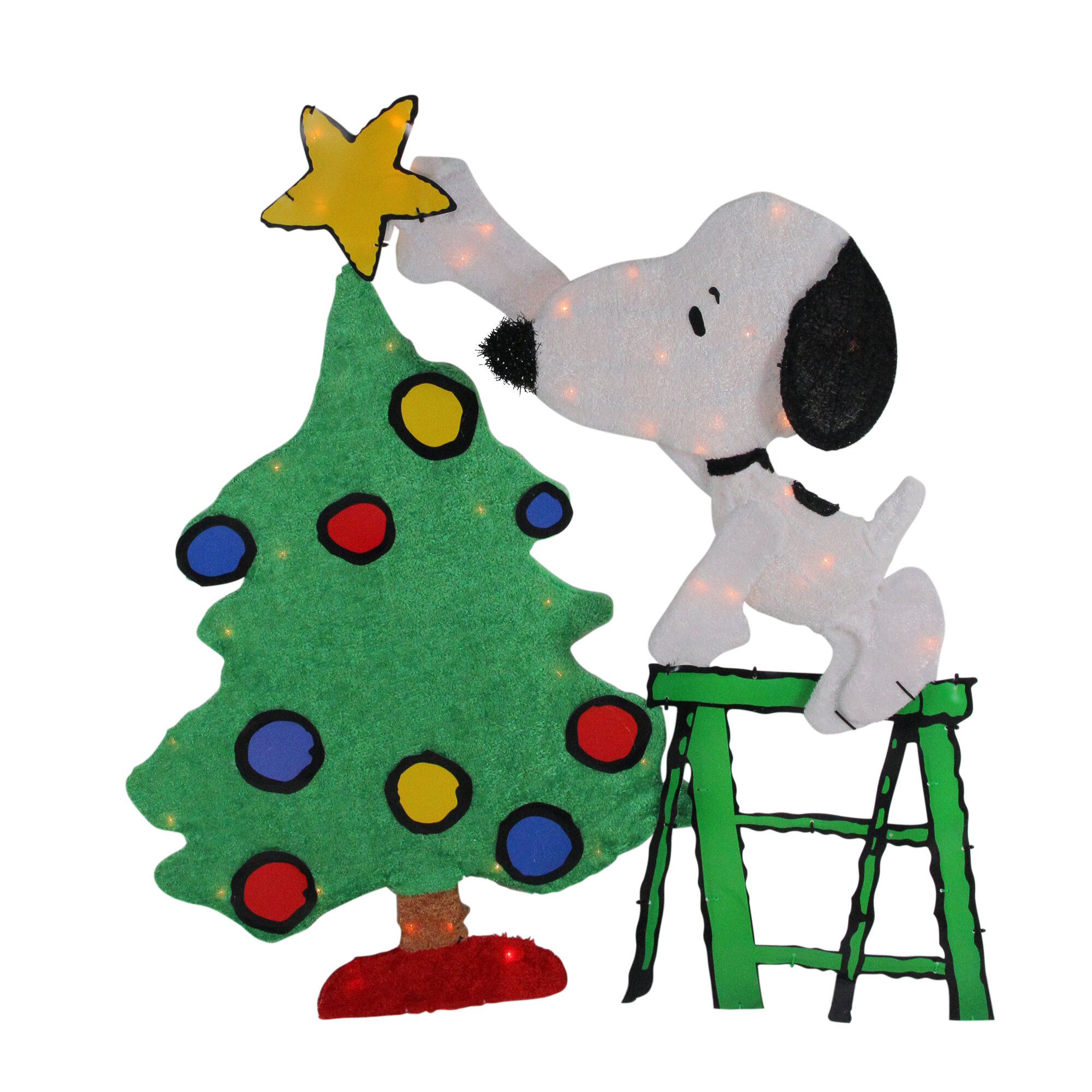 free shipping 36472 0cf3e Pre-Lit Peanuts Snoopy Decorating Christmas Tree Lighted Display