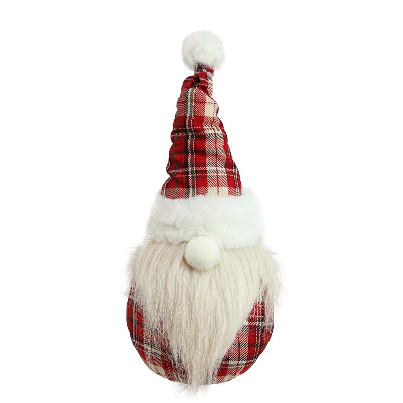 Plaid Sitting Santa Gnome Plush Table Top Christmas Figure. Holiday decor inspiration with plaid, checks, and tartans! Come be inspired by this classic pattern for Christmas decorating. #plaid #christmasdecor #holidayinspiration #checks #decorating #inspiration