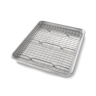 Non-Stick Quarter Sheet Bakeable Cooling Rack and Pan Set