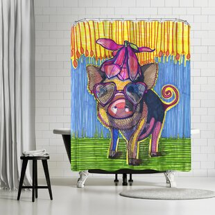 Solveig Studio Pig with Magnolia Flower Single Shower Curtain
