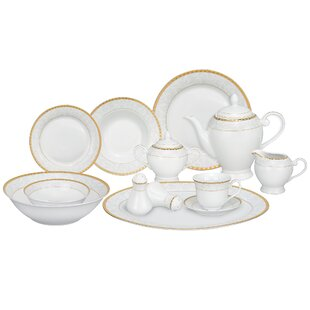 Ricamo Porcelain 57 Piece Dinnerware Set, Service for 8