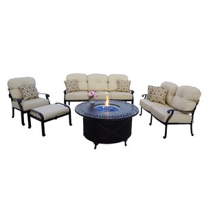 Burdine 5-Piece Fire Pit Deep Multiple Chairs Seating Group Set with Cushions and Pillows