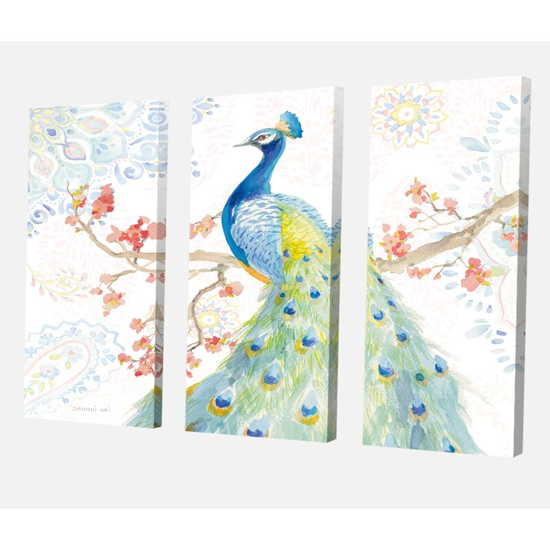 East Urban Home Peacocks Watercolor Ii Painting Multi Piece Image On Wrapped Canvas Wayfair