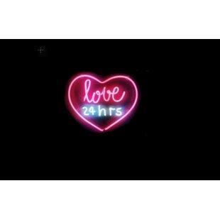 Love 24 hrs Neon Wall Light By Latitude Run