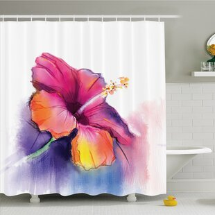 Inexpensive Watercolor Flower Home Hibiscus Flower in Pastel Abstract Romantic Petal Pattern Shower Curtain Set By Ambesonne