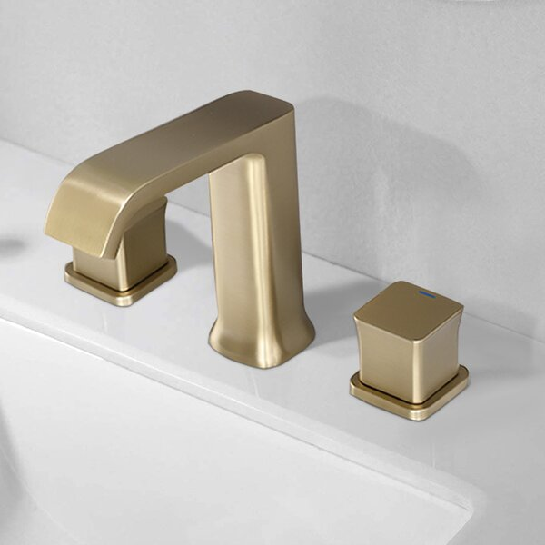 Bathroom Sink Faucet with 3 Colors Changing LED Light Waterfall Spout Brushed Gold Single Handle Faucet with Deck Plate