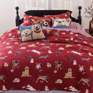 Dog Themed Bedding Sets.Dog Park 3 Piece Reversible Quilt Set