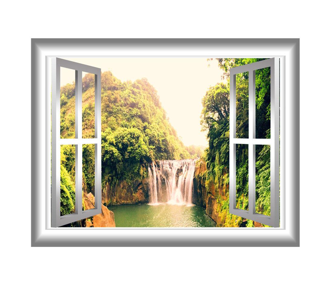 East Urban Home 3D Waterfall Window Wall Decal | Wayfair
