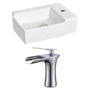 Order Ceramic 17 Wall Mount Bathroom Sink with Faucet ByRoyal Purple Bath Kitchen