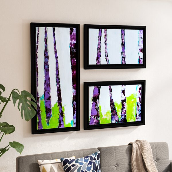 Pathway in Green Forest - 3 Piece green wall decor set