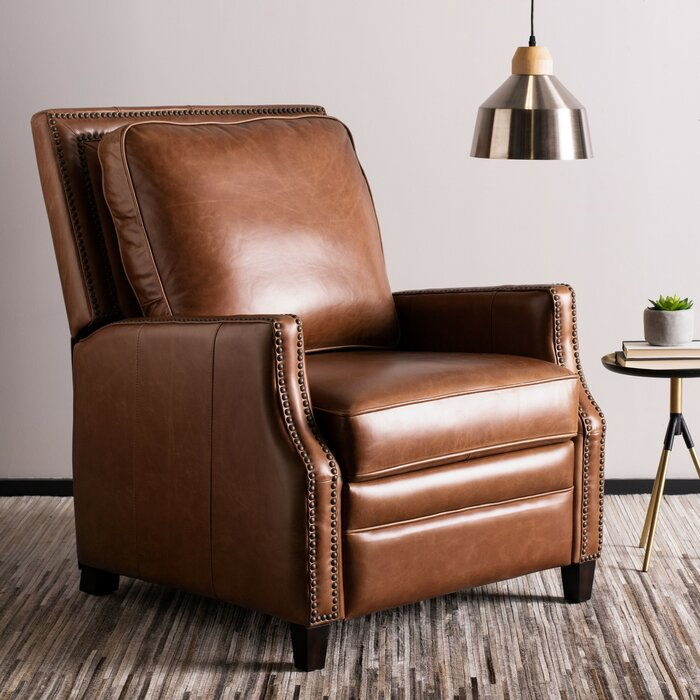 Enjoyable Bischof Leather Manual Recliner Gmtry Best Dining Table And Chair Ideas Images Gmtryco