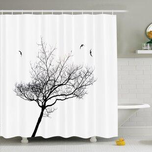 Tree Flying Birds Shower Curtain Set