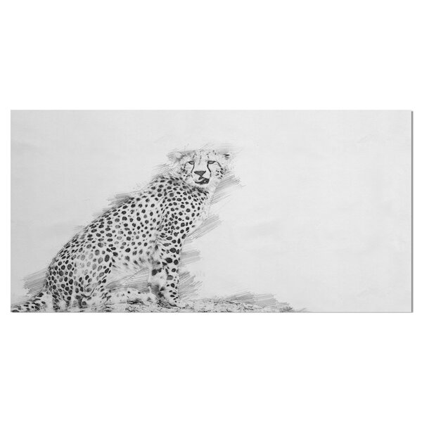 east urban home black and white cheetah drawing print on wrapped canvas wayfair black and white cheetah drawing print on wrapped canvas