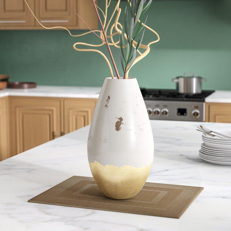 Wildwood Gold White 14 Ceramic Table Vase Wayfair