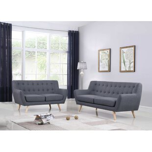 Zaragoza Mid-Century 2 Piece Living Room Set by George Oliver