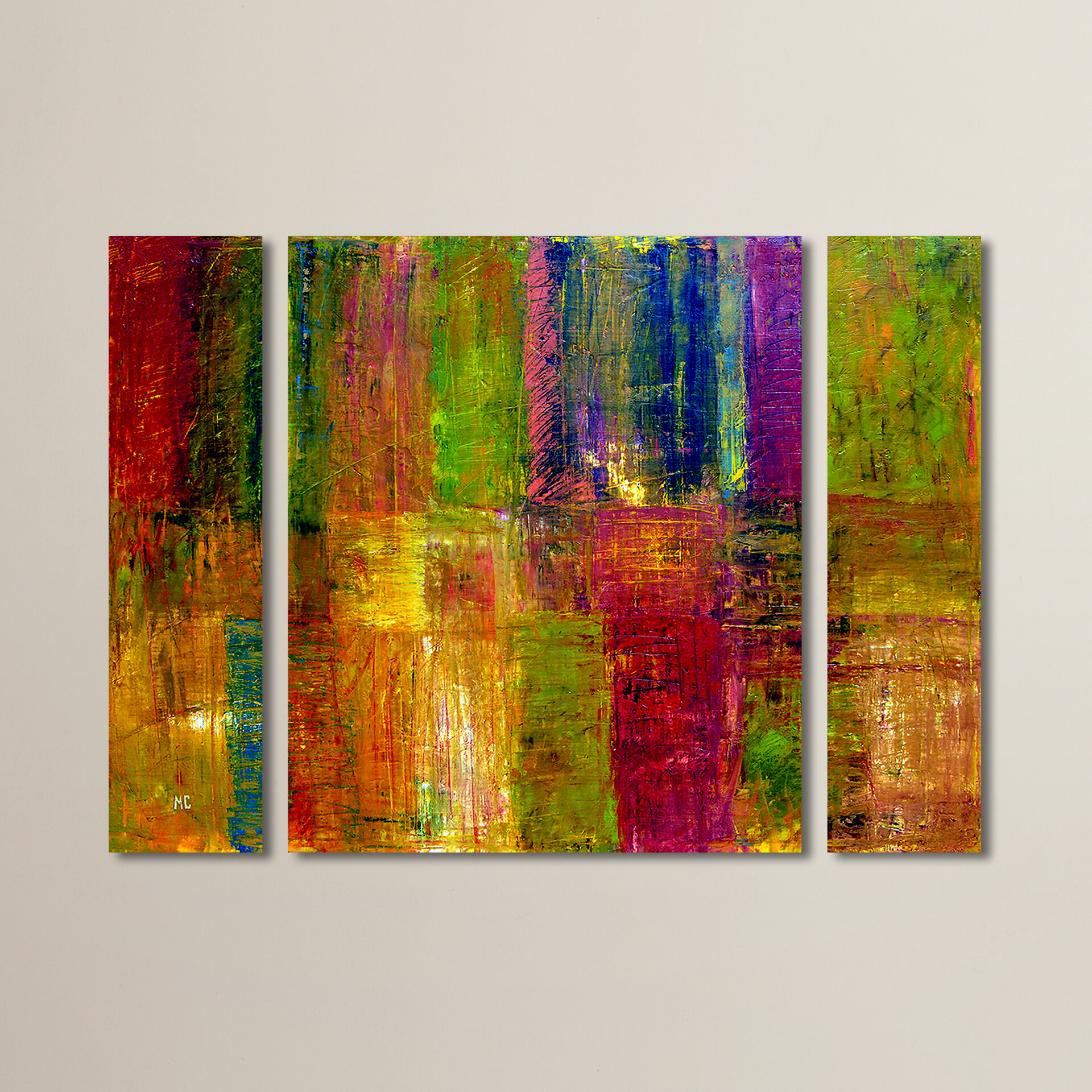 Color Abstract 3 Piece Framed Painting Print On Wrapped Canvas Set