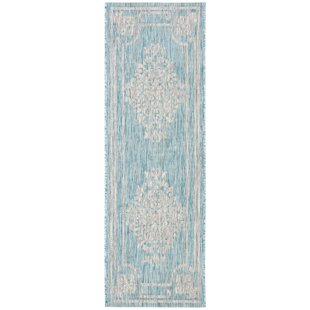 Llewellyn Beige/Aqua Indoor/Outdoor Area Rug